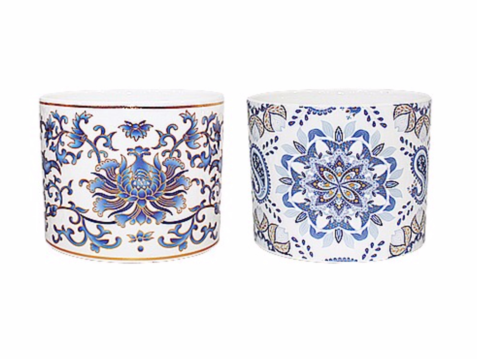 White Pot Metalic Floral (2 Patterns) 11cm CP100026S