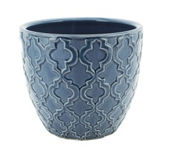 Pot Ceramic Round Blue Pattern CP89727-3