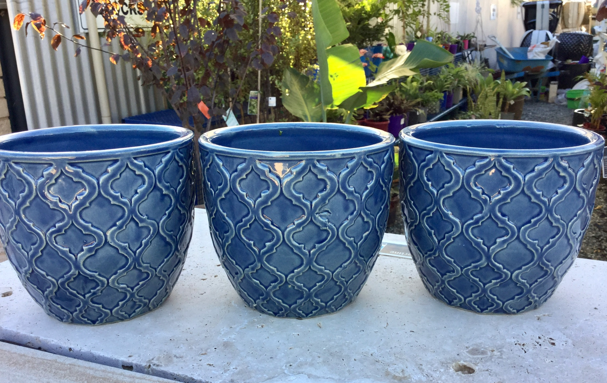 Pot Ceramic Round Blue Pattern