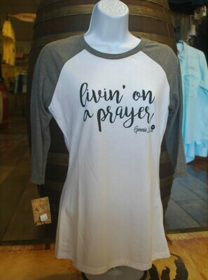 Raglan Livin' On A Prayer Tee (Multiple Colors)