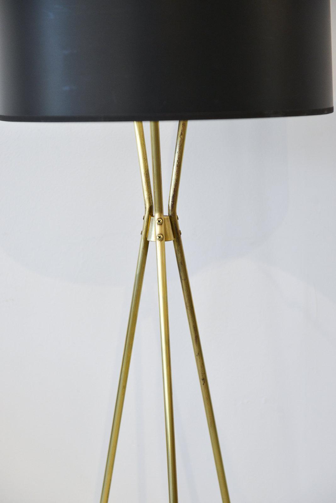 Gerald Thurston for Lightolier Brass Tripod Floor Lamp, circa 1965