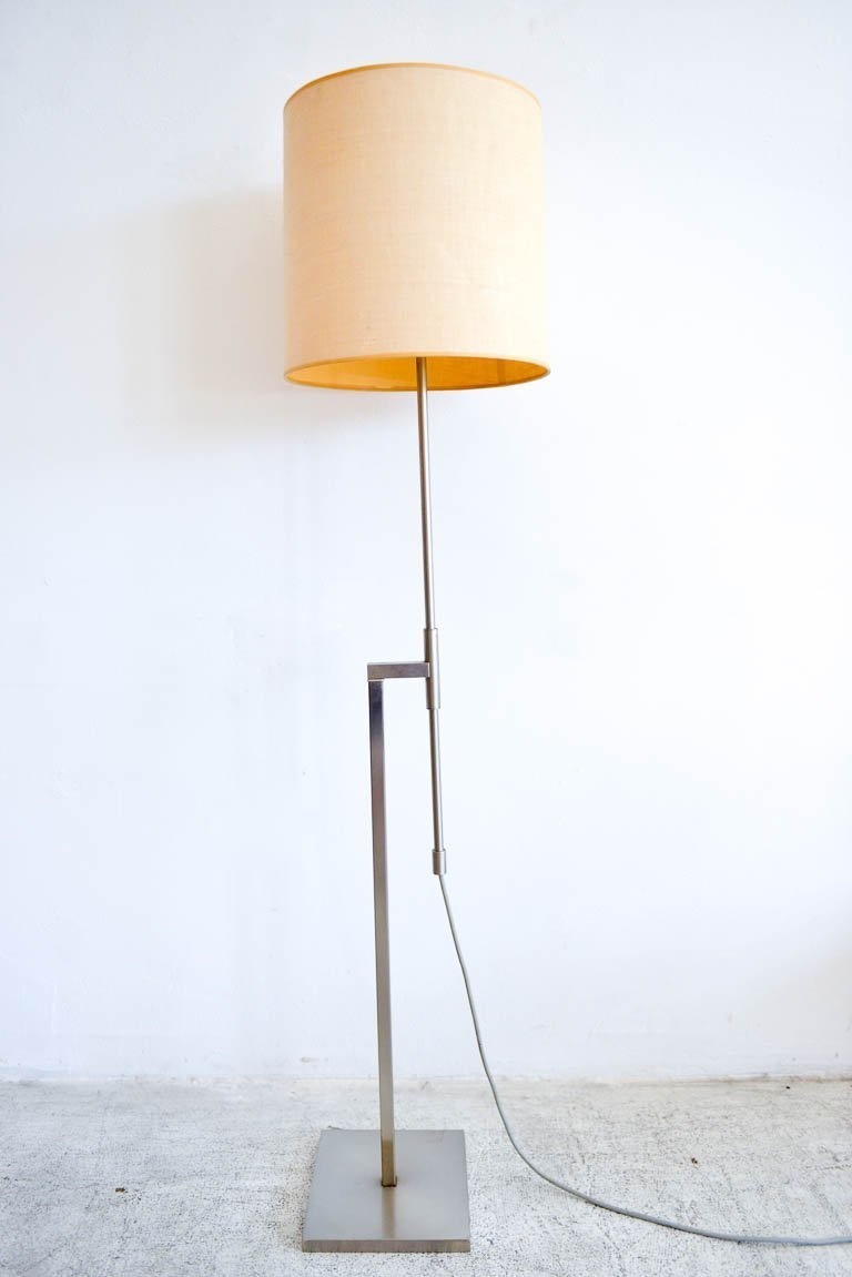 Brushed Nickel Adjustable Arm Floor Lamp By Laurel, Circa 1968. Original  Shade And Harp, This Beautiful Lamp Has Stood The Test Of Time And Is In  Original ...