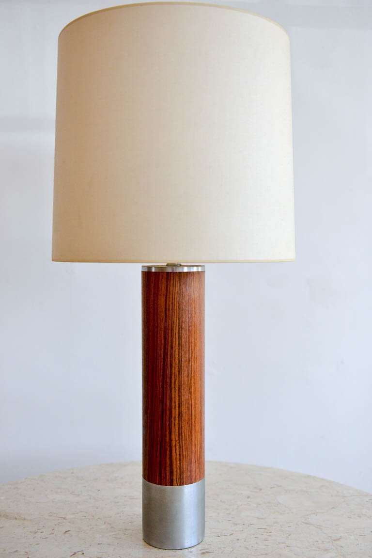 Rosewood and brushed aluminium cylinder table lamp by laurel circa 1970 rosewood and brushed aluminium cylinder table lamp by laurel circa 1970 original glass diffuser and shade original wiring excellent original condition greentooth Image collections