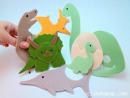 Пальчиковые игрушки из фетра Динозавры