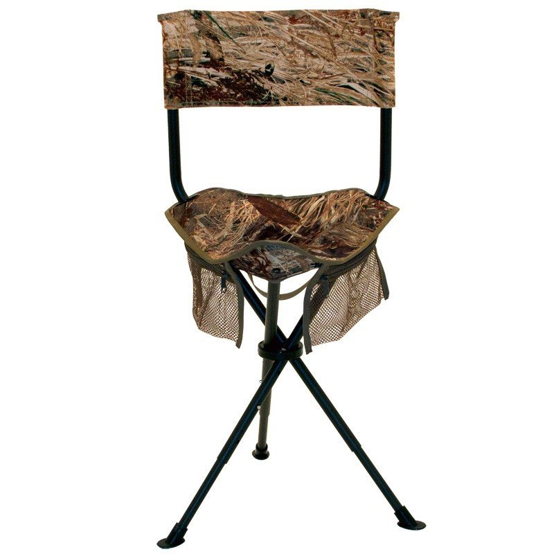Tripod Stool with Back | Adjustable Height| Telescoping Legs | Ultimate Wingshooter | Camo