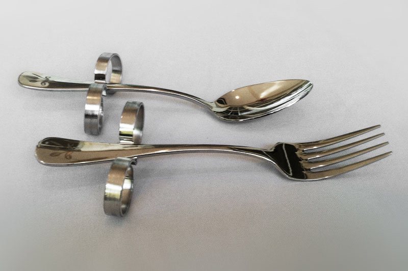 Fork & Spoon Set | Hand Dexterity Impairment Support | Adjustable Grip | Dining with Dignity