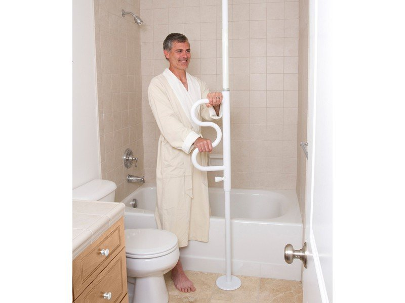 Security Pole | Curve Grab Bar Bathtub Transfer | Bathroom | Step Transfer | Standing Support | Stander