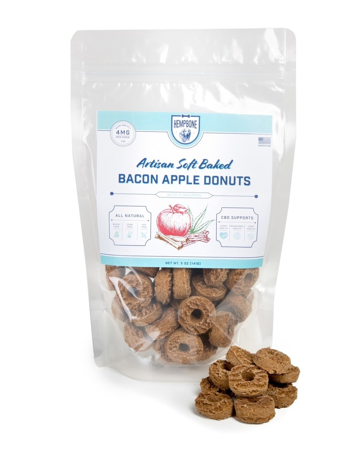 CBD for Pets | All Natural Pet Treat | HempBone Bacon Apple Donuts | 4mg CBD per chew |