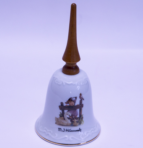 "Hummel Porcelain Bell With Wooden Handle - ""Feathered Friends"""