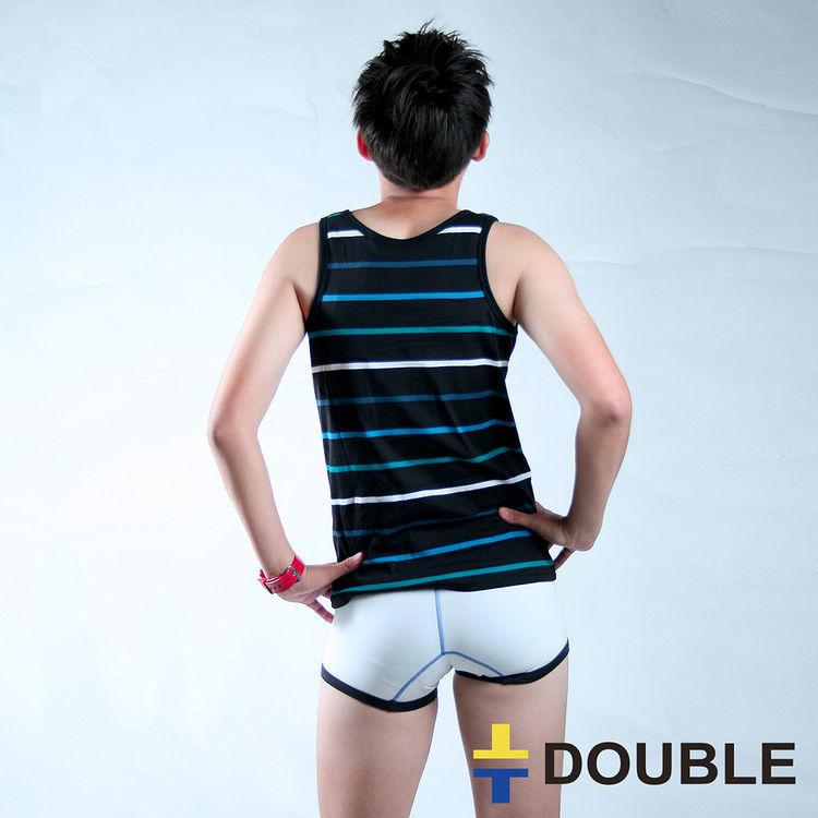 條紋背心式外穿束胸-黑/藍