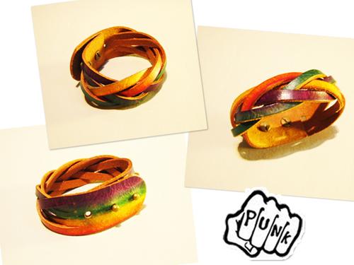 臘染六色編織皮環