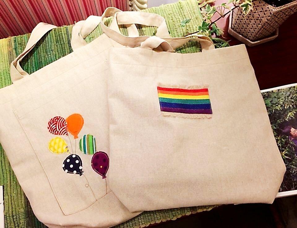 <六色彩虹-像氣球一樣自由>純手創肩背包