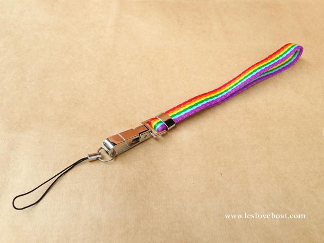 粉系彩虹細版手機鏈/鑰匙圈-短