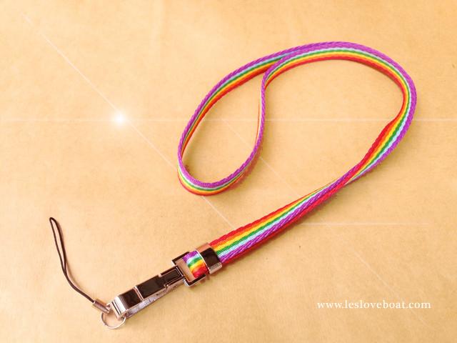 粉系彩虹細版手機鏈/鑰匙圈-長