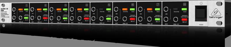 Behringer DI800 8-канальный активный DI-box с универсальным питанием (сеть/ фантом)