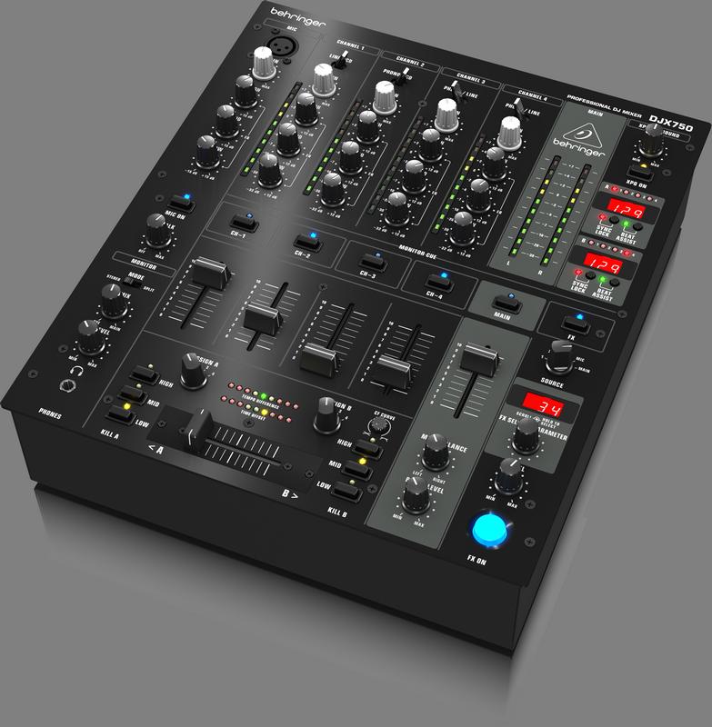 Behringer DJX750 DJ-микшер со счетчиком темпа, 5 каналов (4 стерео+ микр.), 3D-surround