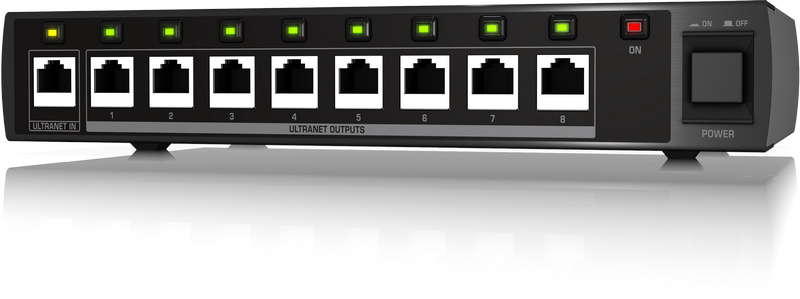 Behringer P16-D разветвитель сигнала ULTRANET 1 x 8 микшеров P-16M и активные АС с ULTRANET. Подключение: Сat 5