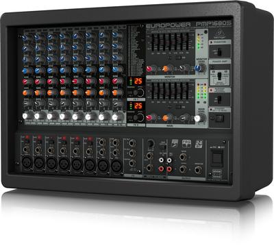 Behringer PMP1680S микшер-усилитель 2 х 600Вт•4 Ом 12 каналов (6 моно, 2 стерео+ tape), эквалайзер, эффекты