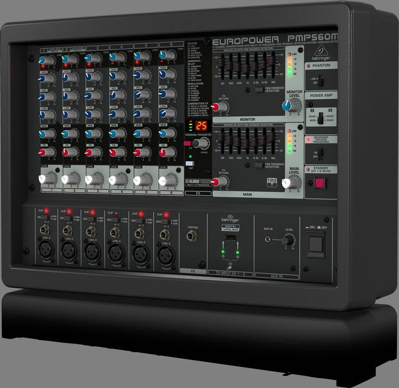 Behringer PMP560M микшер-усилитель 500Вт•4Ом, 6 мик./лин.- каналов, процессор KLARK TEKNIK, FBQ анти-фидбэк