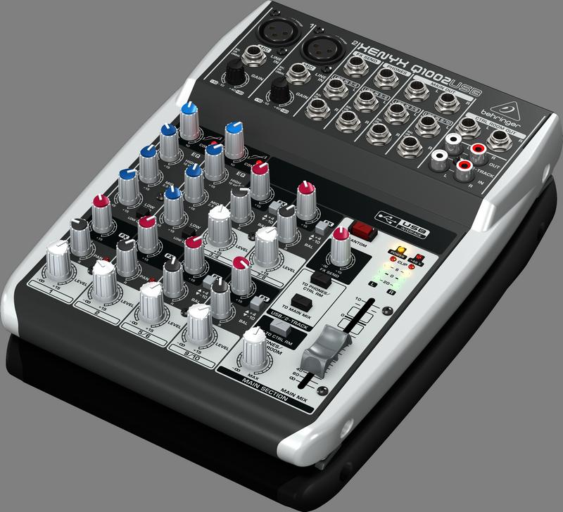 Behringer Q1002USB аналоговый микшер, 10 каналов, 2 мик. + 4 лин. стерео, 1 AUX, USB-audio, Main L/R- Jack, 2 компрессора