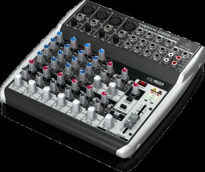 Behringer Q1202USB аналоговый микшер, 12 каналов, 4 мик. + 4 лин. стерео,1 AUX, USB-audio, Main L/R- Jack, 4 компрессора