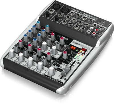 Behringer QX1002USB аналоговый микшер, 10 каналов, 2 мик. + 4 лин. стерео, 1 AUX, DSP FX Klark Teknik, USB-audio, Main L/R- Jack, 2 компрессора