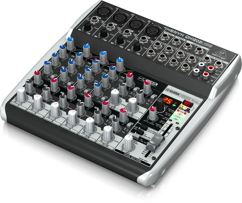 Behringer QX1202USB аналоговый микшер, 12 каналов, 4 мик. + 4 лин. стерео, 1 AUX, DSP FX Klark Teknik, USB-audio, Main L/R- Jack, 4 компрессора