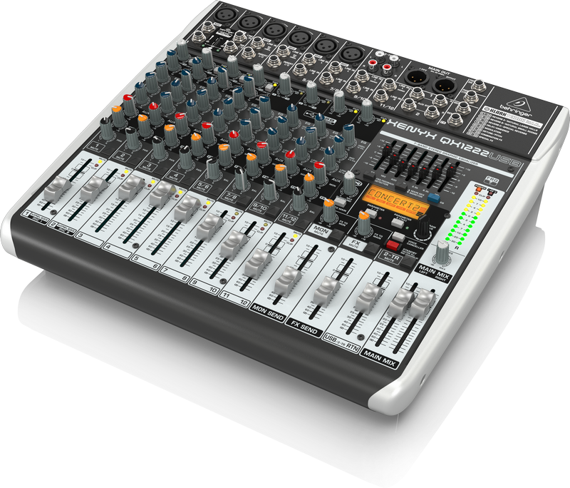 Behringer QX1222USB аналоговый микшер, 12 каналов, 4 мик.+2 мик.моно/лин. стер.+2 лин.стер.+ 2 TR, 2 AUX, FX Klark Teknik LCD, USB-audio, 4 компр. GEQ