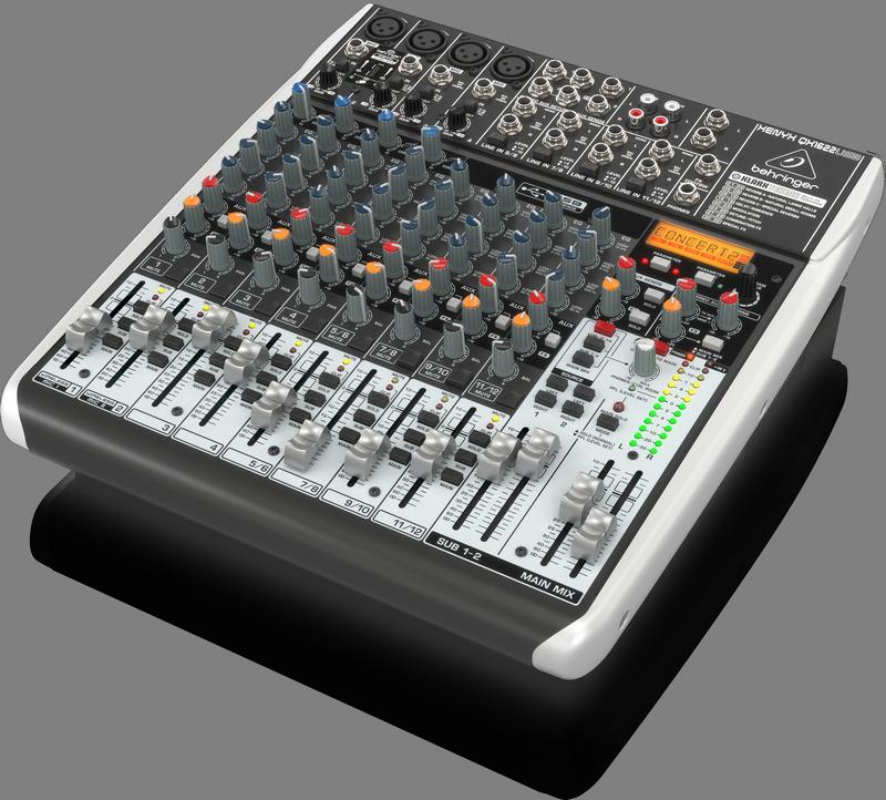 Behringer QX1622USB аналоговый микшер, 12 каналов, 4 мик.+4 лин.стер.+2 AUX RET, 2 AUX (1 PRE/POST), 1 GROUP, FX Klark Teknik LCD, USB-audio, 4 компр.