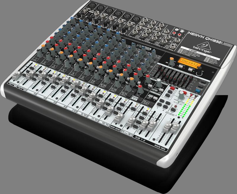 Behringer QX1832USB аналоговый микшер,14 каналов, 6 мик.+4 лин.стер.+2 AUX RET, 3 AUX (1 PRE/POST), 1 GROUP,FX KlarkTeknik LCD,USB-audio,6 компр, GEQ