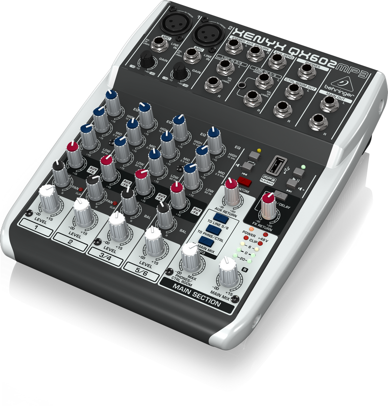 Behringer QX602MP3 аналоговый микшер, 6 каналов, 2 мик. +2 лин. cтерео +1 AUX RET, 1 AUX, Main L/R- Jack, USB MP3-плеер