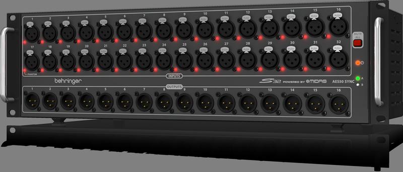Behringer S32 стейдж-бокс, 32 мик/лин входов, 16 лин выходов XLR, 2 x AES50, 2 x AES/EBU, ULTRANET, 2 x ADAT, 3U