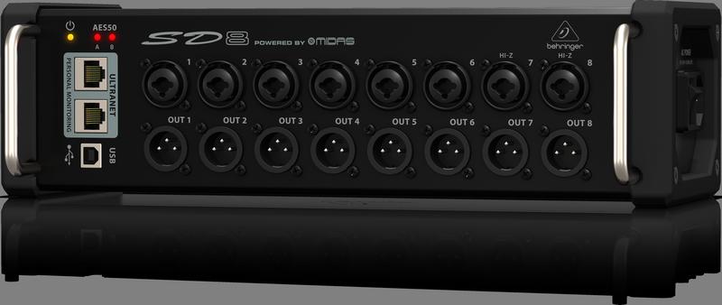 Behringer SD8 стейдж-бокс, 8 мик/лин входов, 8 лин выходов XLR, 2 x AES50, 2 x ULTRANET, USB