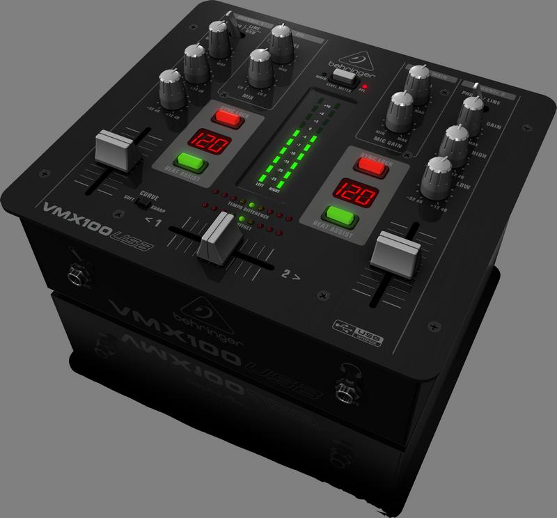 Behringer VMX100USB DJ-микшер со счетчиком темпа и USB аудиоинтерфейсом, 2 канала
