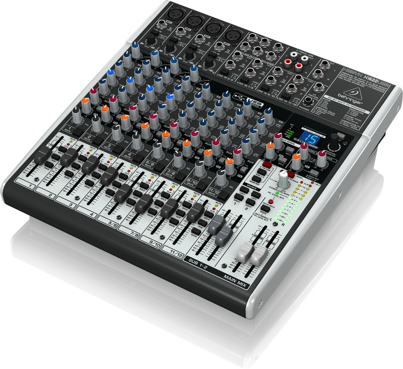 Behringer X1622USB аналоговый микшер, 12 каналов, 4 мик.+4 лин.стерео+2 AUX RET, 2 AUX (1 PRE/POST), 1 GROUP, FX, USB-audio, Main L/R- XLR, 4 комп.