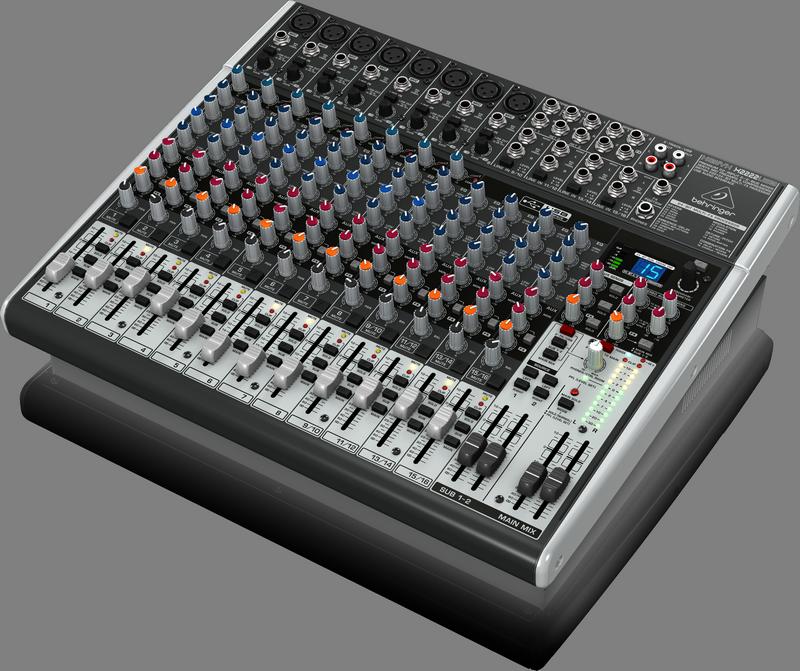Behringer X2222USB аналоговый микшер, 16 каналов, 8 мик.+4 лин.стер.+3 AUX RET, 3 AUX (1 PRE/POST), 1 GROUP, FX, USB-audio, MainL/R- XLR/Jack, 8 комп.