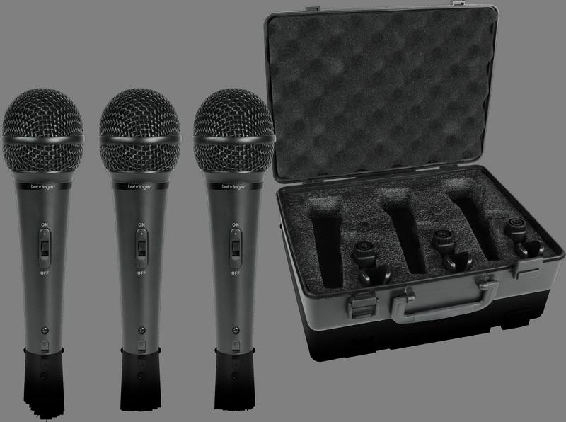 Behringer XM1800S комплект из 3 кардиоидных динамических микрофонов, 80-15000Гц, держатели, кейс