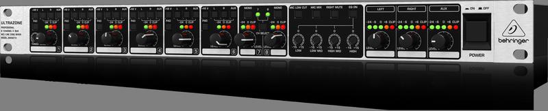 Behringer ZMX8210 зонный микшер для звуковых инсталляций (6 мик/лин. 2 стерео вх., 3 вых.), 20Hz - 20kHz,эквалайзер