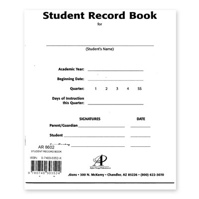 Lifepac Student Record Book Single (Kindergarten - 12th Grade)
