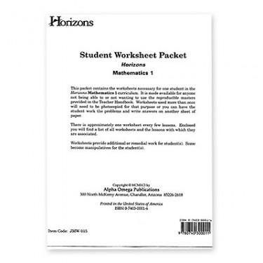 Horizons Math 1 Student Worksheet Packet