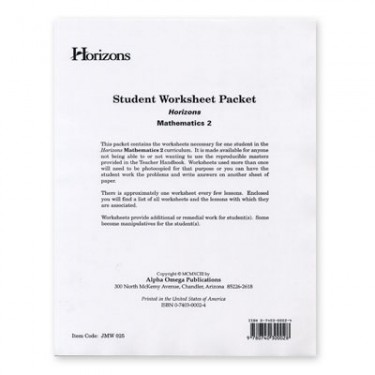Horizons Math 2 Student Worksheet Packet
