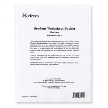 Horizons Math 3 Student Worksheet Packet