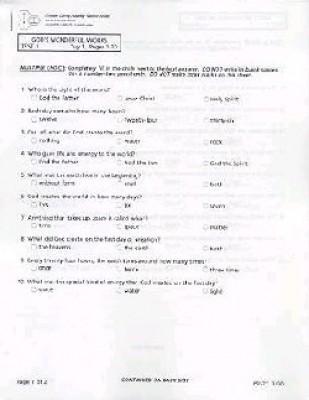 Gods Wonderful Works Grade 2 Test Packet