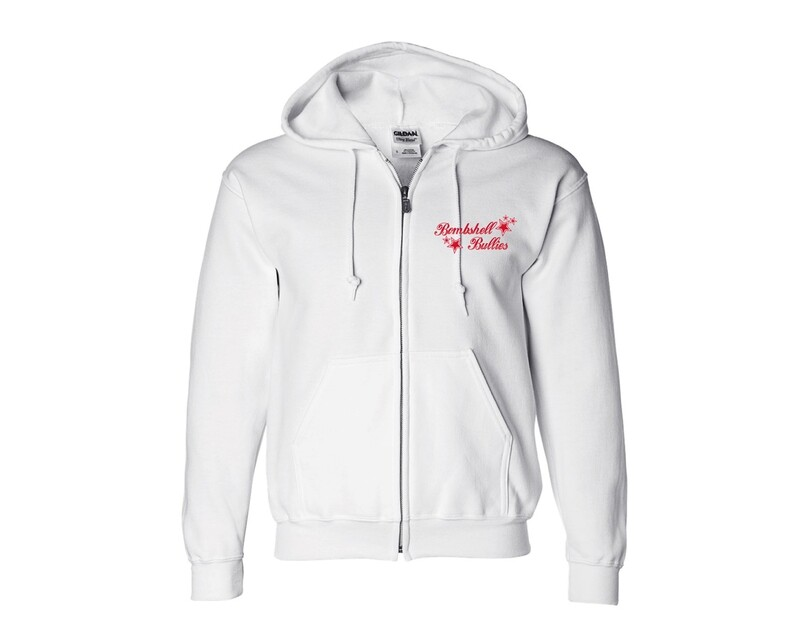 White Zip-Up Bombshell Sweatshirts