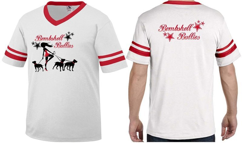 Bombshell V-Neck Stripped Sleeve T-Shirt