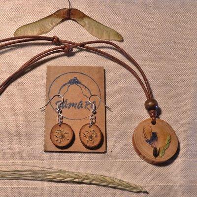 Collar con flor de Viborera y pendientes
