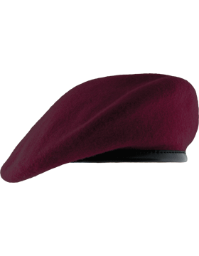 pja/ Beret, Maroon (Lined w/Leather Band) 01-0007