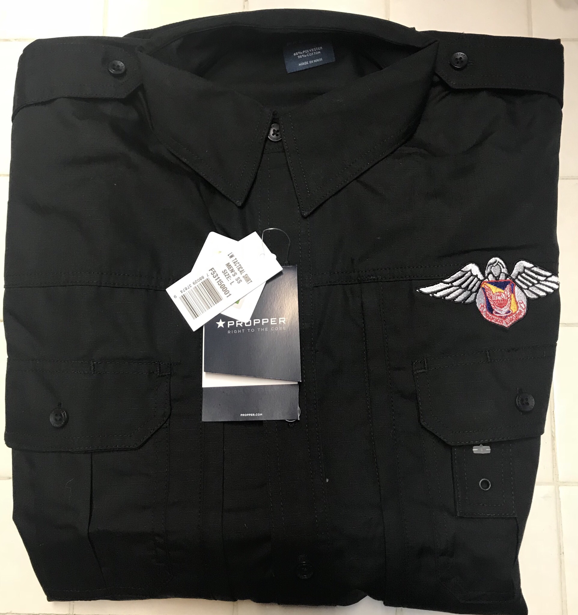 PJ Associaton Black Tactical Short Sleeve Shirt - Large 01-0042