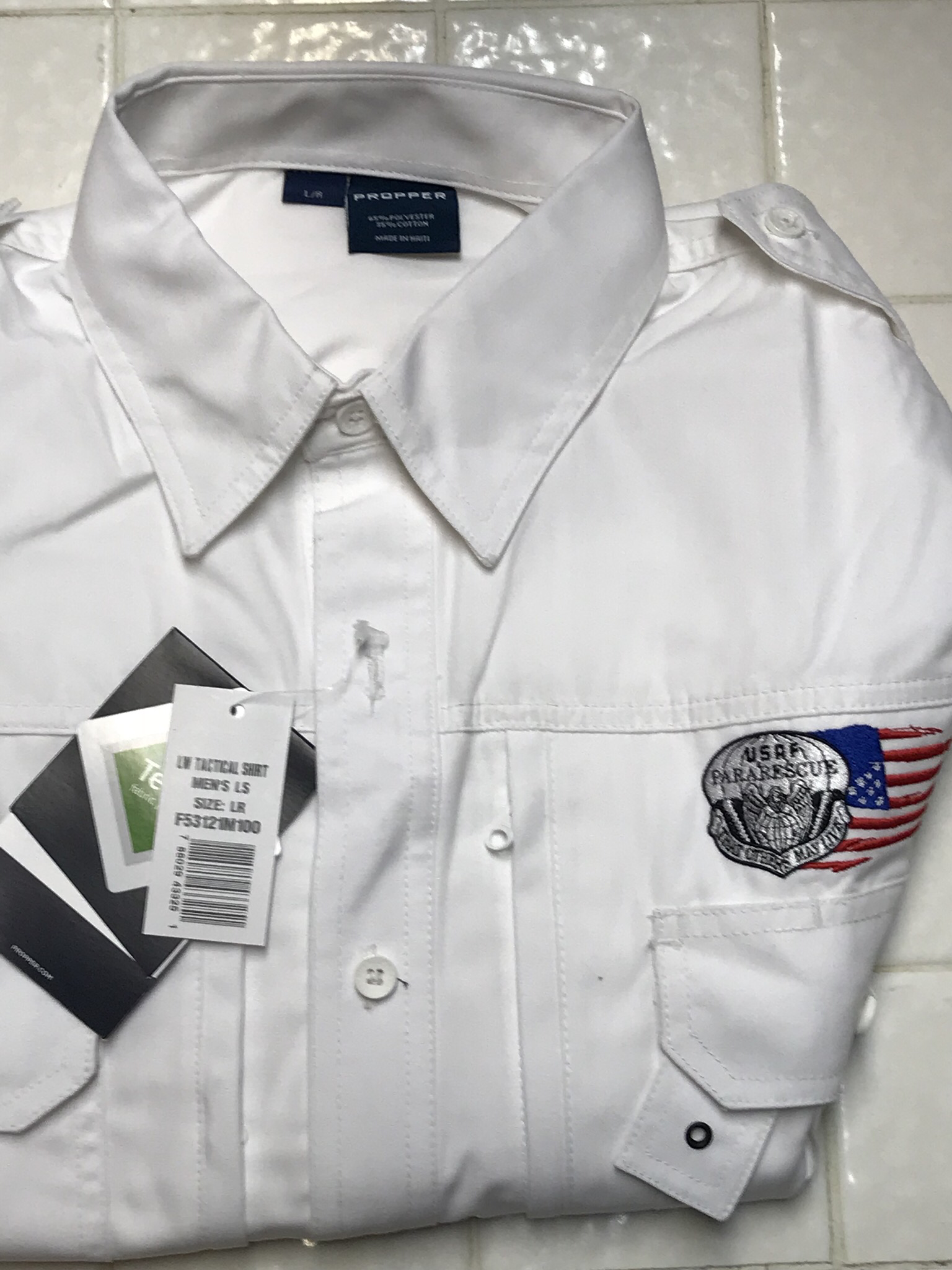 pja/ PJ Flash & Tattered Flag Long Sleeve Tactical Shirt/Large 01-0044