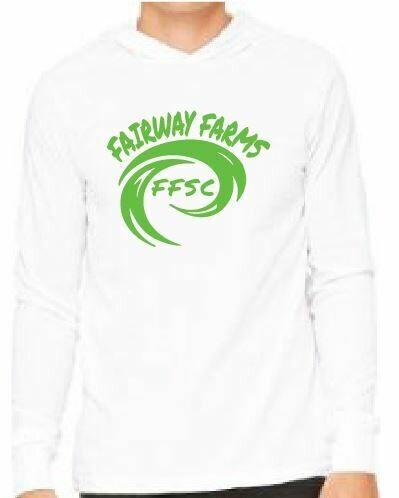 Fairway Farms logo UNISEX JERSEY LONG SLEEVE HOODIE TEE- white